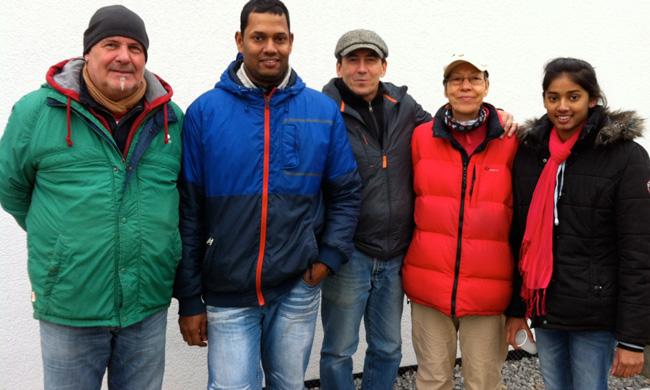 Die Tagessieger des 7. Spieltages von links nach rechts: Daniel Dalein (1.), Rajakumar Vallipuram (2.), Joachim Janisch (3.), Petra Fechner (3.), Selvi Vallipuram (5.)